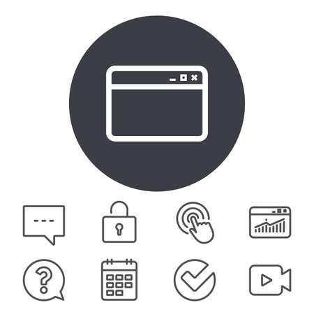 ブラウザー ウィンドウのアイコン。インター ネット ページの記号です。ウェブサイトの空のテンプレートのサイン。予定表、ロッカーおよび音声  イラスト・ベクター素材