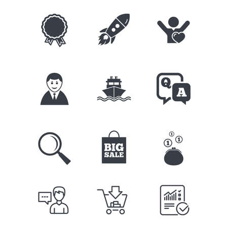 Online shopping, e-commerce and business icons. Startup, award and customers like signs. Cash money, shipment and sale symbols. Customer service, Shopping cart and Report line signs. Vector Illustration