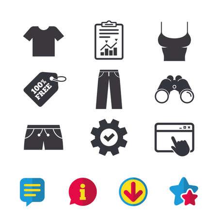 Kleren pictogrammen. T-shirt en broek met korte broekborden. Zwembroek symbool. Browservenster, rapport en serviceborden. Verrekijker, informatie en download pictogrammen. Sterren en chatten. Vector Stockfoto - 81318852