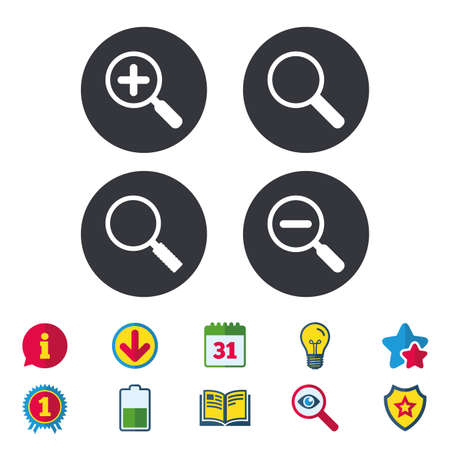 Magnifier glass icons. Plus and minus zoom tool symbols. Search information signs. Calendar, Information and Download signs. Stars, Award and Book icons. Light bulb, Shield and Search. Vector