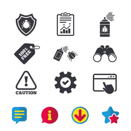 Bug disinfection icons. Caution attention and shield symbols. Insect fumigation spray sign. Browser window, Report and Service signs. Binoculars, Information and Download icons. Stars and Chat. Vector Illustration