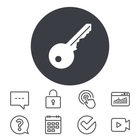 Key sign icon. Unlock tool symbol. Calendar, Locker and Speech bubble line signs. Video camera, Statistics and Question icons. Vector