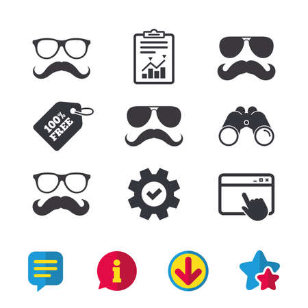 Mustache and Glasses icons. Hipster symbols. Facial hair signs. Browser window, Report and Service signs. Binoculars, Information and Download icons. Stars and Chat. Vector Illustration