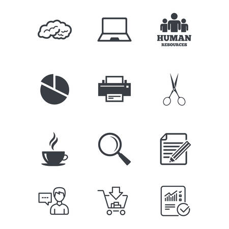 Office, documents and business icons. Human resources, notebook and printer signs. Scissors, magnifier and coffee symbols. Customer service, Shopping cart and Report line signs. Vector