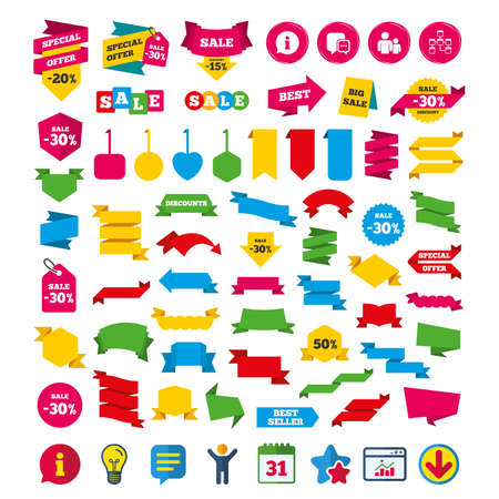 Information sign. Group of people and database symbols. Chat speech bubbles sign. Communication icons. Shopping tags, banners and coupons signs. Calendar, Information and Download icons. Vector
