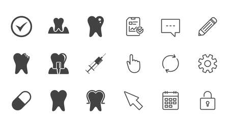 Tooth, dental care icons. Stomatology, syringe and implant signs. Healthy teeth, caries and pills symbols. Chat, Report and Calendar line signs. Service, Pencil and Locker icons. Vector