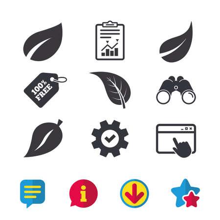 Blad pictogram. Symbolen voor verse natuurproducten. Boom verlaat tekenen. Browservenster, rapport en serviceborden. Verrekijker, informatie en download pictogrammen. Sterren en chatten. Vector Stockfoto - 81318890