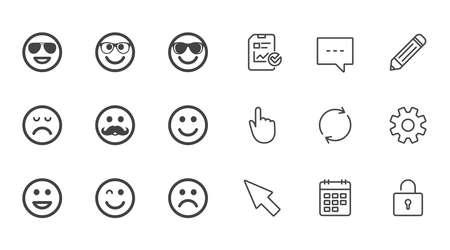 笑顔のアイコン。幸せ、悲しい、ウインク印に直面しています。サングラス、口ひげ、笑絵文字シンボルを笑っています。チャット、報告書、カレ  イラスト・ベクター素材