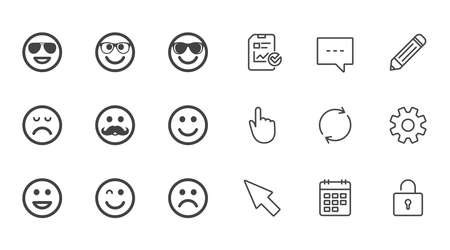 Smile icons. Happy, sad and wink faces signs. Sunglasses, mustache and laughing lol smiley symbols. Chat, Report and Calendar line signs. Service, Pencil and Locker icons. Click, Rotation and Cursor