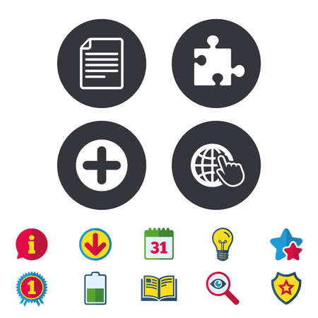 Plus add circle and puzzle piece icons. Document file and globe with hand pointer sign symbols. Calendar, Information and Download signs. Stars, Award and Book icons. Light bulb, Shield and Search