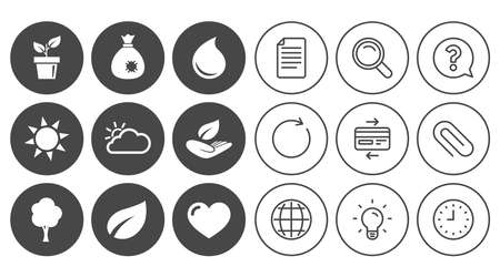 Garden sprout, leaf icons. Nature and weather signs. Sun, cloud and tree symbols. Document, Globe and Clock line signs. Lamp, Magnifier and Paper clip icons. Question, Credit card and Refresh. Vector