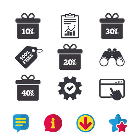 thirty percent off: Sale gift box tag icons. Discount special offer symbols. 10%, 20%, 30% and 40% percent discount signs. Browser window, Report and Service signs. Binoculars, Information and Download icons. Vector