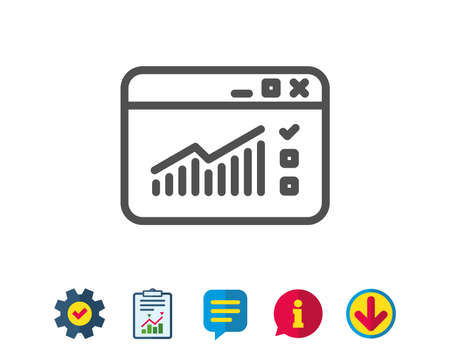 Website Traffic line icon. Report chart or Sales growth sign. Analysis and Statistics data symbol. Report, Service and Information line signs. Download, Speech bubble icons. Editable stroke. Vector