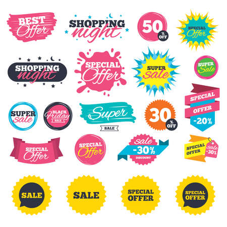 Sale shopping banners. Sale icons. Special offer speech bubbles symbols. Shopping signs. Web badges, splash and stickers. Best offer. Vector