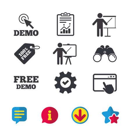Demo met cursor icoon. Presentatie billboard teken. Man staande met pijlersymbool. Browservenster, Rapport en Service tekens. Verrekijkers, Informatie en Download iconen. Sterren en Chat. Vector