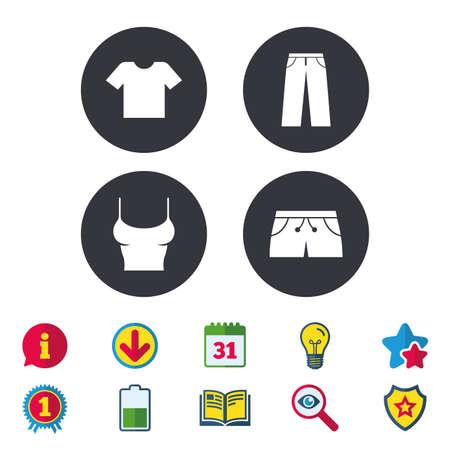 Kleidung-Icons. T-Shirt und Hose mit Kurzzeichen. Symbol für Badehose. Kalender, Informationen und Download-Zeichen. Sterne, Auszeichnung und Buchsymbole. Glühbirne, Schild und Suche. Vektor Standard-Bild - 81318940