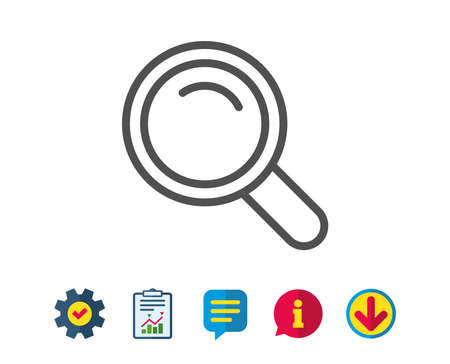 Search line icon. Magnifying glass sign. Enlarge tool symbol. Report, Service and Information line signs. Download, Speech bubble icons. Editable stroke. Vector