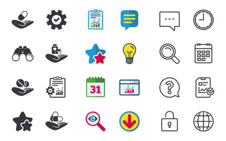 Helping hands icons. Medical health insurance symbols. Drugs pills bottle signs. Medicine tablets. Chat, Report and Calendar signs. Stars, Statistics and Download icons. Question, Clock and Globe Ilustrace