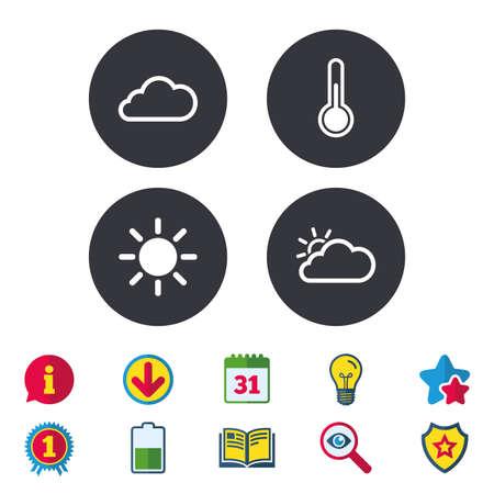 날씨 아이콘입니다. 구름과 태양이 표지판. 온도계 온도 기호입니다. 달력, 정보 및 다운로드 표지판. 별, 수상 및 책 아이콘. 전구, 방패 및 수색. 벡터