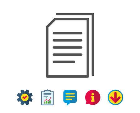 Symbol für Belegzeilen kopieren. Dateien kopieren signieren. Papierseiten-Konzeptsymbol. Schilder für Service- und Informationszeilen. Download, Sprechblasen-Symbole. Bearbeitbarer Strich Vektor Standard-Bild - 81319008