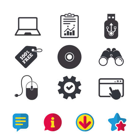 Notebook pc and Usb flash drive stick icons. Computer mouse and CD or DVD sign symbols. Browser window, Report and Service signs. Binoculars, Information and Download icons. Stars and Chat. Vector Illustration