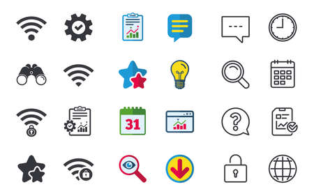 Wireless Network icons. Wi-fi zone locked symbols. Password protected Wi-fi sign. Chat, Report and Calendar signs. Stars, Statistics and Download icons. Question, Clock and Globe. Vector Illustration