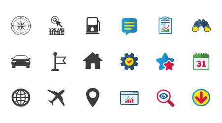 Navigatie, gps-pictogrammen. Windrose, kompas en kaartaanwijzerborden. Symbolen voor auto's, vliegtuigen en vlaggen. Kalender, rapport en downloadborden. Pictogrammen voor sterren, service en zoeken. Statistieken, verrekijkers en chat Stockfoto - 81303933