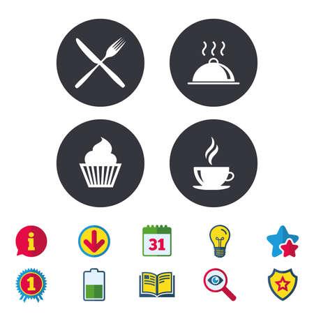 食べ物や飲み物のアイコン。マフィン ケーキのシンボル。フォークとナイフのサイン。ホット コーヒー カップ。食品の大皿料理。カレンダー、情