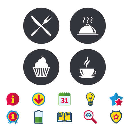 Food and drink icons. Muffin cupcake symbol. Fork and knife sign. Hot coffee cup. Food platter serving. Calendar, Information and Download signs. Stars, Award and Book icons. Vector