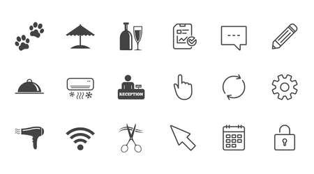 ホテル、アパートメント サービス ・ アイコン。Wifi インターネット看板。ペット同伴可, アルコールとエアコンのシンボル。チャット、報告書、カ