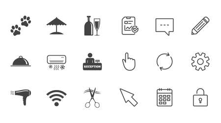 Hotel, apartment services icons. Wifi internet sign. Pets allowed, alcohol and air conditioning symbols. Chat, Report and Calendar line signs. Service, Pencil and Locker icons. Vector Çizim
