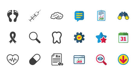 의학, 의료 건강 및 진단 아이콘입니다. 주사기 주입, 하트 비트 및 환 약 기호입니다. 치아, 신경 기호입니다. 달력,보고 및 다운로드 표지판. 별, 서비 일러스트