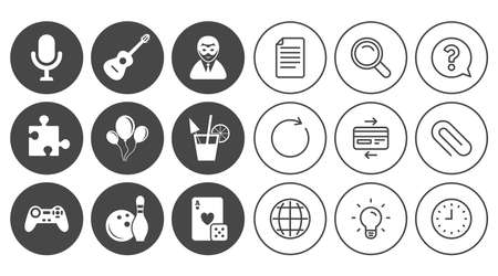 Game, bowling and puzzle icons. Entertainment signs. Casino, carnival and alcohol cocktail symbols. Document, Globe and Clock line signs. Lamp, Magnifier and Paper clip icons. Vector