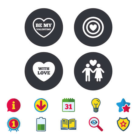 Valentine day love icons. Target aim with heart symbol. Couple lovers sign. Calendar, Information and Download signs. Stars, Award and Book icons. Light bulb, Shield and Search. Vector Illustration