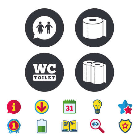Toilet paper icons. Gents and ladies room signs. Paper towel or kitchen roll. Man and woman symbols. Calendar, Information and Download signs. Stars, Award and Book icons. Vector Illustration