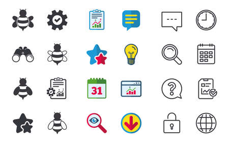 Honey bees icons. Bumblebees symbols. Flying insects with sting signs. Chat, Report and Calendar signs. Stars, Statistics and Download icons. Question, Clock and Globe. Vector