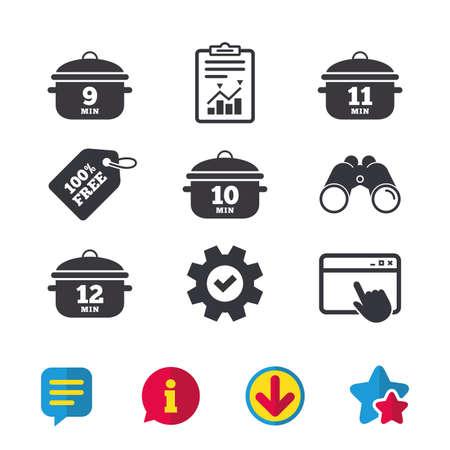 Pan pictogrammen koken. Kook 9, 10, 11 en 12 minuten tekenen. Stoofpot eten symbool. Browservenster, rapport en serviceborden. Verrekijker, informatie en download pictogrammen. Sterren en chatten. Vector