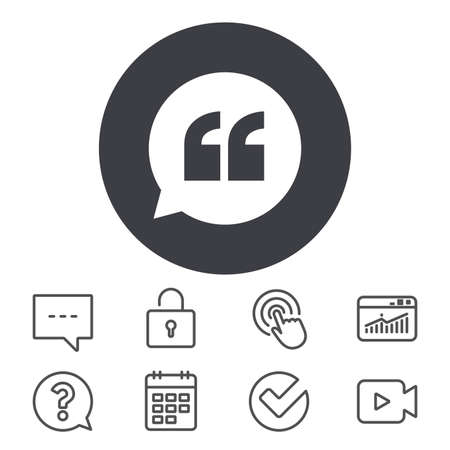 Quote sign icon. Quotation mark in speech bubble symbol. Double quotes. Calendar, Locker and Speech bubble line signs. Video camera, Statistics and Question icons. Vector Illustration