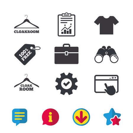hangers: Cloakroom icons. Hanger wardrobe signs. T-shirt clothes and baggage symbols. Browser window, Report and Service signs. Binoculars, Information and Download icons. Stars and Chat. Vector Illustration