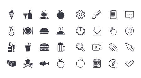 Set of Food and Drinks icons. Restaurant meal, Wine and Cheese signs. Burger, Milkshake and Beer symbols. Calendar, Document and Download line signs. Pencil, Service and Search icons. Vector