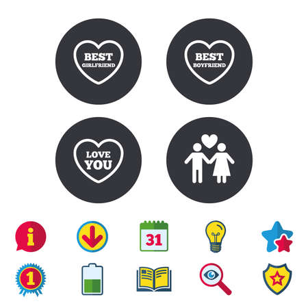 Valentine day love icons. Best girlfriend and boyfriend symbol. Couple lovers sign. Calendar, Information and Download signs. Stars, Award and Book icons. Light bulb, Shield and Search. Vector Illusztráció