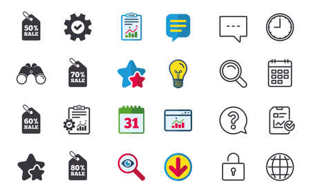 Sale price tag icons. Discount special offer symbols. 50%, 60%, 70% and 80% percent sale signs. Chat, Report and Calendar signs. Stars, Statistics and Download icons. Question, Clock and Globe. Vector Ilustrace