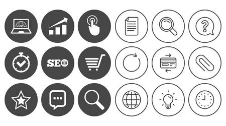 favourite: Internet, seo icons. Online shopping, charts and speed signs. Chat messages symbol. Document, Globe and Clock line signs. Lamp, Magnifier and Paper clip icons. Question, Credit card and Refresh Illustration