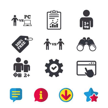 Gamer pictogrammen. Bord- en pc-games spelers tekenen. Speler versus pc-symbool. Browservenster, rapport en serviceborden. Verrekijker, informatie en download pictogrammen. Sterren en chatten. Vector