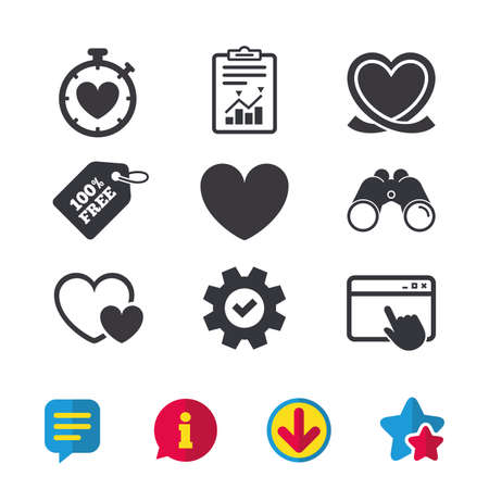 Heart ribbon icon. Timer stopwatch symbol. Love and Heartbeat palpitation signs. Browser window, Report and Service signs. Binoculars, Information and Download icons. Stars and Chat. Vector