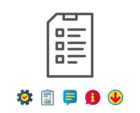 Checkliste Symbol für Dokumentzeile. Informationsdatei Zeichen. Papierseiten-Konzeptsymbol. Schilder für Service- und Informationszeilen. Download, Sprechblasen-Symbole. Bearbeitbarer Strich Vektor Standard-Bild - 81302785