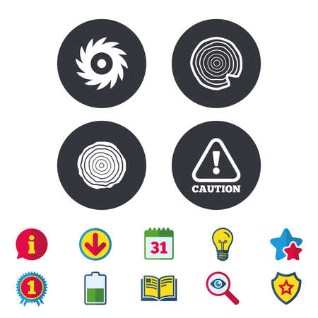 Wood and saw circular wheel icons. Attention caution symbol. Sawmill or woodworking factory signs. Calendar, Information and Download signs. Stars, Award and Book icons. Light bulb, Shield and Search