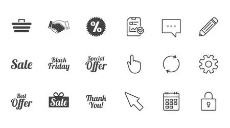 Sale discounts icon. Shopping, handshake and black friday signs. Special offer symbols. Chat, Report and Calendar line signs. Service, Pencil and Locker icons. Click, Rotation and Cursor. Vector