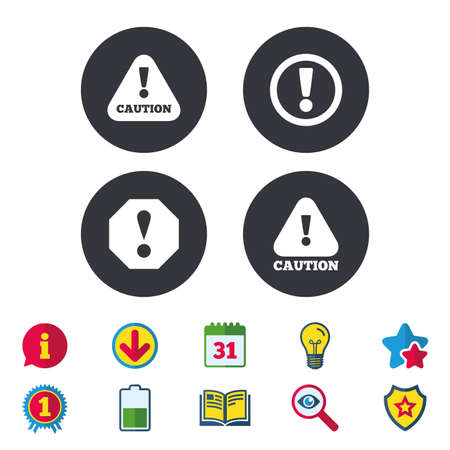 Attention caution icons. Hazard warning symbols. Exclamation sign. Calendar, Information and Download signs. Stars, Award and Book icons. Light bulb, Shield and Search. Vector