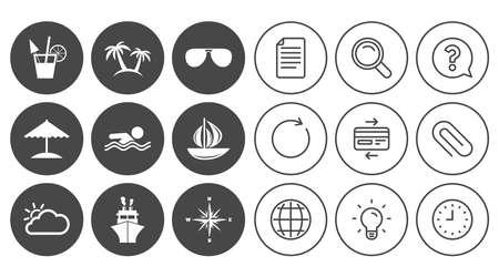 Kreuzfahrt-, Schiffs- und Yachtikonen. Schilder für Reisen, Cocktails und Palmen. Sonnenbrillen, Windrose und Schwimmsymbole. Zeichen-, Globe- und Clock-Linienzeichen. Symbole für Lampen, Lupen und Büroklammern Standard-Bild - 81319333